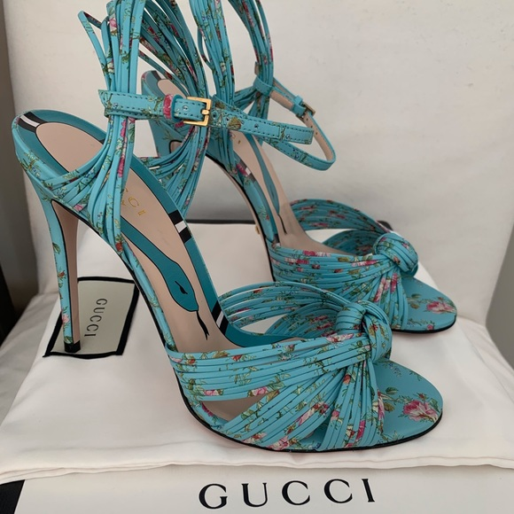 56ade03e496c GUCCI Allie leather knotted high hell sandals 37.5